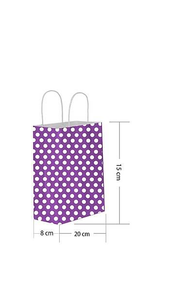 15x20 Büküm Saplı Puantiyeli Kağıt Poşet Mor