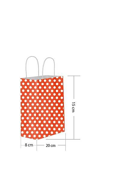 15x20 Büküm Saplı Puantiyeli Kağıt Poşet Kırmızı