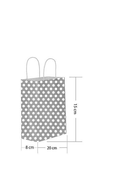15x20 Büküm Saplı Puantiyeli Kağıt Poşet Gümüş