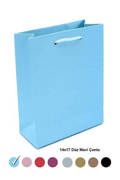 Düz Mavi 14X17 Karton Çanta 25ad