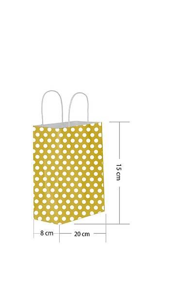 15x20 Büküm Saplı Puantiyeli Kağıt Poşet Altın