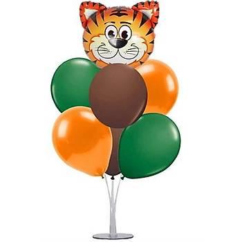 Safari Balonlu Balon Standý - 1 Adet Stand ve 10 Adet Metalik Balon ve 40 cm Folyo Balon