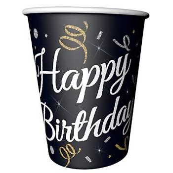 Siyah Happy Birthday Karton Bardak 8'li