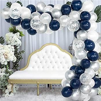 Lacivert Beyaz Balon Zinciri - 100 Adet Balon , 5 mt Zincir Aparatý ve Balon Pompasý