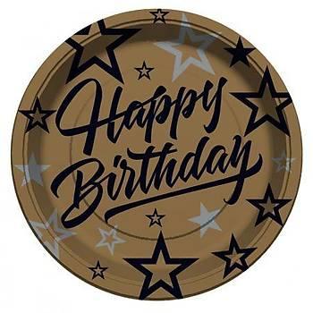 Gold Happy Birthday Karton Tabak 8'li