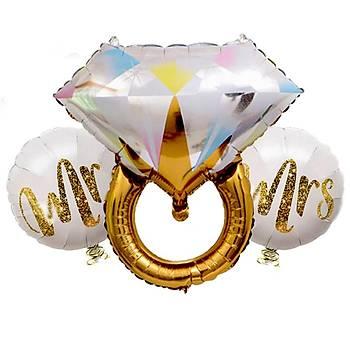 Gold Yüzük Folyo Balon Seti 3'lü