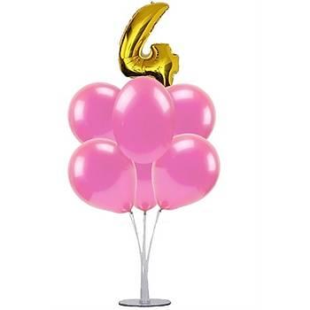 Pembe 4 Yaþ Balonlu Balon Standý - 1 Adet Stand ve 10 Adet Metalik Balon ve 50 cm Folyo Balon