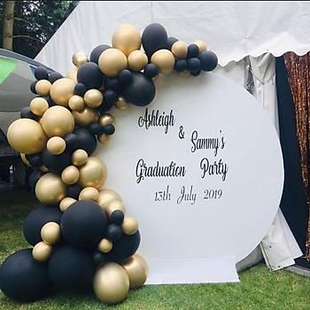 Siyah Gold Balon Zinciri - 120 Adet Balon , 5 mt Zincir Aparatý ve Balon Pompasý