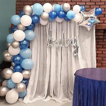 Mavi Balon Zinciri - 101 Adet Balon , 5 mt Zincir Aparatý ve Balon Pompasý