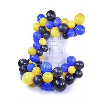 Siyah Lacivert Sarý Balon Zinciri - 100 Adet Balon , 5 mt Zincir Aparatý ve Balon Pompasý