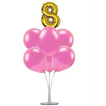 Pembe 8 Yaþ Balonlu Balon Standý - 1 Adet Stand ve 10 Adet Metalik Balon ve 50 cm Folyo Balon