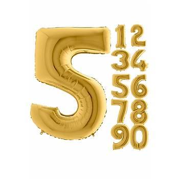 5 Rakam Gold Renk Folyo Balon 100cm
