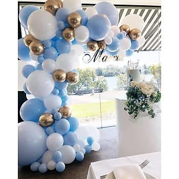 Gold Detaylý Mavi Beyaz Balon Zinciri - 135 Adet Balon , 5 mt Zincir Aparatý ve Balon Pompasý