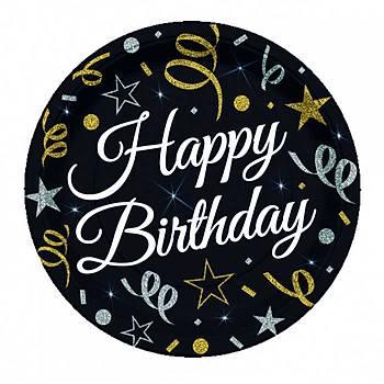 Siyah Happy Birthday Karton Tabak 8'li