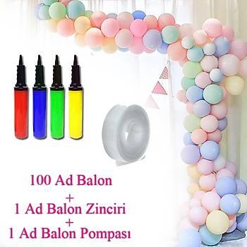 Makaron Balon Zinciri - 100 Adet Makaron Balon , 5 mt Zincir Aparatý ve Balon Pompasý