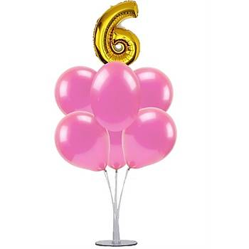 Pembe 6 Yaþ Balonlu Balon Standý - 1 Adet Stand ve 10 Adet Metalik Balon ve 50 cm Folyo Balon