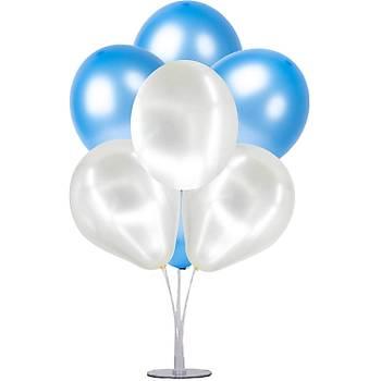 Mavi Balonlu Balon Standý Seti - 1 Adet Stand ve 10 Adet Metalik Balon
