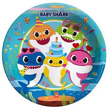 Baby Shark Temalý Karton Tabak 8'li 22 cm