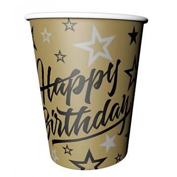 Gold Happy Birthday Karton Bardak 8'li