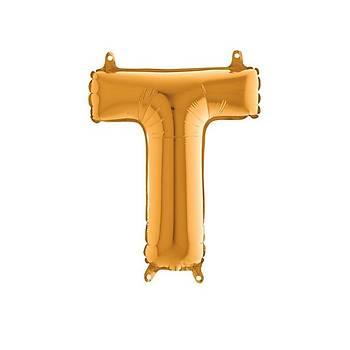 T Harfi Gold Renk Folyo Balon 60cm
