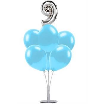Mavi 9 Yaþ Balonlu Balon Standý - 1 Adet Stand ve 10 Adet Metalik Balon ve 50 cm Folyo Balon