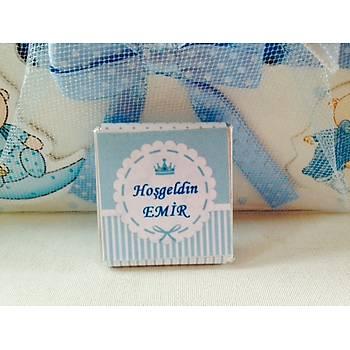 100 Adet Ýsimli Bebek Çikolatasý ve Sepeti