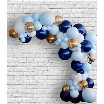 Lacivert Balon Zinciri - 100 Adet Balon , 5 mt Zincir Aparatý ve Balon Pompasý