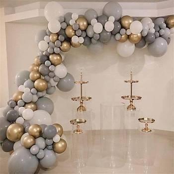 Gri Gold Balon Zinciri - 130 Adet Balon , 5 mt Zincir Aparatý ve Balon Pompasý