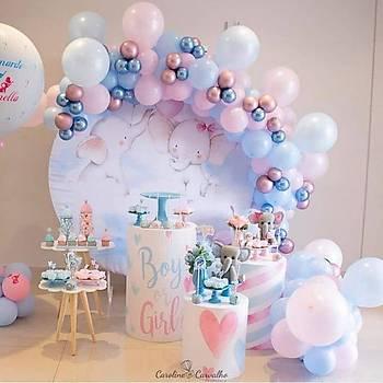 Pembe Mavi Balon Zinciri - 120 Adet Balon , 5 mt Zincir Aparatý ve Balon Pompasý
