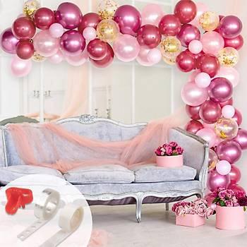 Kýrmýzý Pembe Balon Zinciri - 100 Adet Balon , 5 mt Zincir Aparatý ve Balon Pompasý
