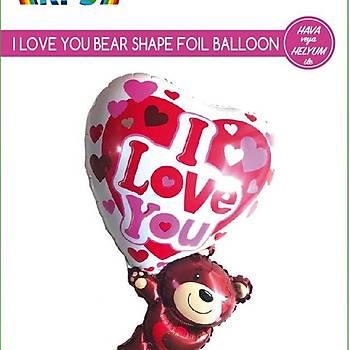 Ayýcýklý Love Folyo Balon 32 Ýnc
