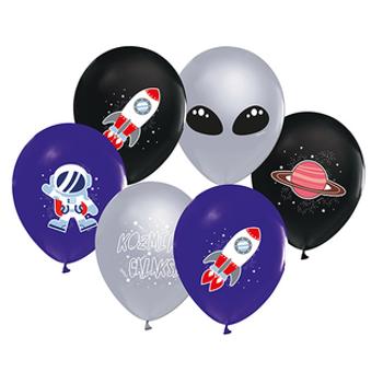 Uzay Baskýlý Balon – 30 cm 10 Adet