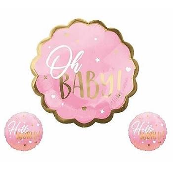 Pembe Oh Baby Folyo Balon Seti 3'lü
