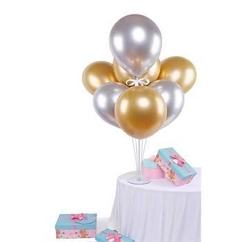 Gold Gümüþ Balonlu Balon Standý - 1 Adet Stand ve 10 Adet Krom Balon