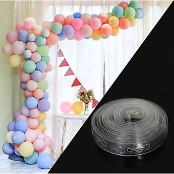 Makaron Balon Zinciri - 50 Adet Makaron Balon , 5 mt Zincir Aparatý ve Balon Pompasý