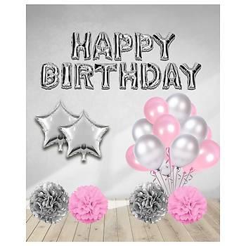 Pembe Happy Birthday Balonlu Set