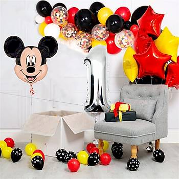 Mickey Mouse Balon Doðum Günü Seti 80 Balon ve Balon Zinciri Aparatý