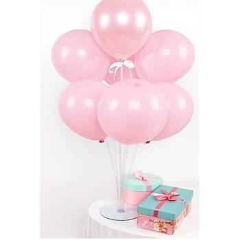 Makaron Pembe Balonlu Balon Standý - 1 Adet Stand ve 10 Adet Balon
