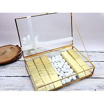Gold Cam Kutuda Söz Niþan Çikolatasý - (120 Adet Madlen Çikolata ve 200 gr Draje)