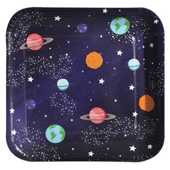 Kare Uzay Desenli Karton Tabak 8'li 18 cm