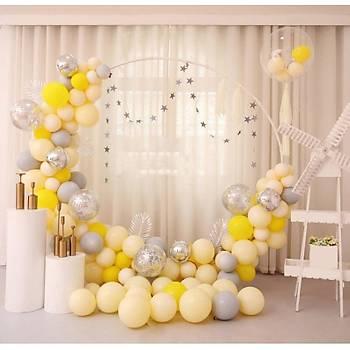 Sarý Balon Zinciri - 100 Adet Balon , 5 mt Zincir Aparatý ve Balon Pompasý