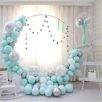 Mint Balon Zinciri - 100 Adet Balon , 5 mt Zincir Aparatý ve Balon Pompasý