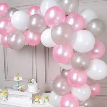 Pembe Gri Beyaz Balon Zinciri - 100 Adet Balon , 5 mt Zincir Aparatý ve Balon Pompasý