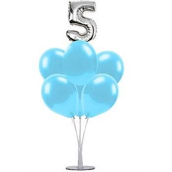 Mavi 5 Yaþ Balonlu Balon Standý - 1 Adet Stand ve 10 Adet Metalik Balon ve 50 cm Folyo Balon