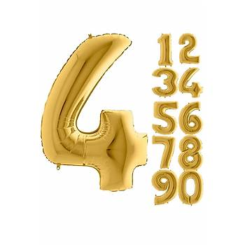 4 Rakam Gold Renk Folyo Balon 100cm