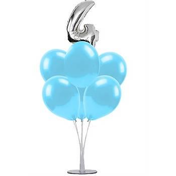 Mavi 4 Yaþ Balonlu Balon Standý - 1 Adet Stand ve 10 Adet Metalik Balon ve 50 cm Folyo Balon