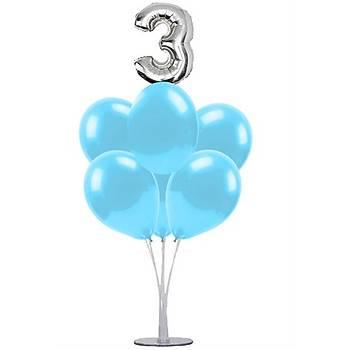 Mavi 3 Yaþ Balonlu Balon Standý - 1 Adet Stand ve 10 Adet Metalik Balon ve 50 cm Folyo Balon