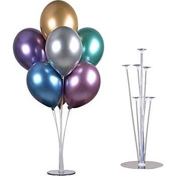 Krom Balonlu Balon Standý - 1 Adet Stand ve 10 Krom Adet Balon