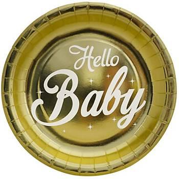 Varak Baskýlý Hello Baby Karton Tabak 6'lý 23 cm