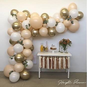 Ten Rengi ve Gold Balon Zinciri - 100 Adet Balon , 5 mt Zincir Aparatý ve Balon Pompasý